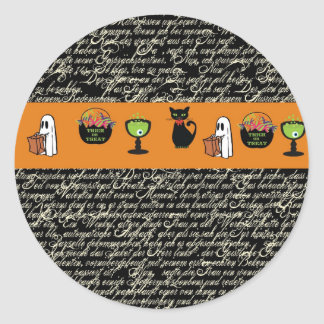 Halloween Spookey Writing with Orange Stripe Classic Round Sticker