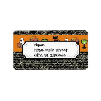 Halloween Spookey Writing with Orange Stripe Label