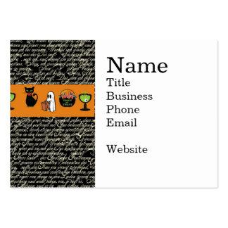 Halloween Spookey Writing with Orange Stripe Large Business Card