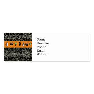 Halloween Spookey Writing with Orange Stripe Mini Business Card