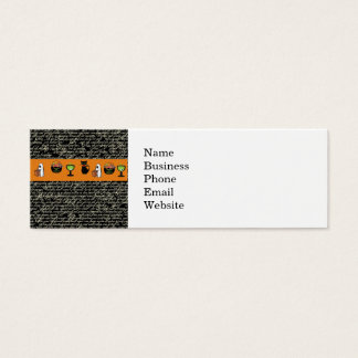 Halloween Spookey Writing with Orange Stripe Mini Business Card