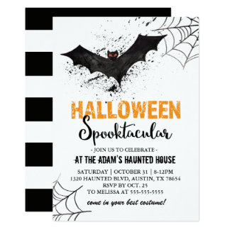 Halloween Spooktacular Bat Invitation