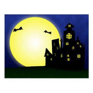 Halloween Spooktacular Bats Moon Haunted Mansion Postcard