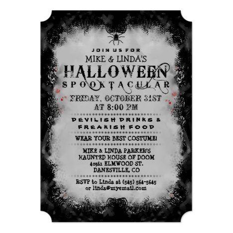Halloween Spooktacular Black & Gray Gothic Invite