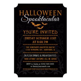 Halloween Spooktacular Invitation - Orange & Black