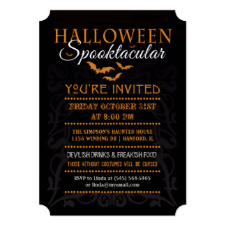 Halloween Spooktacular Invitation - Orange & Black