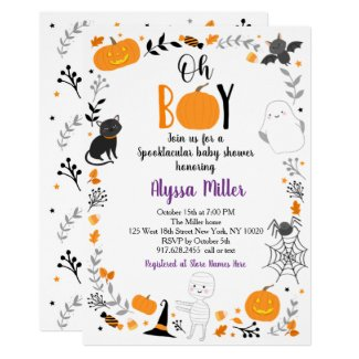 Halloween Themed Baby Shower Invitations Spooktacular Oh Boy