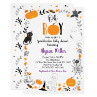 Halloween Spooktacular Oh Boy Baby Shower Invitation
