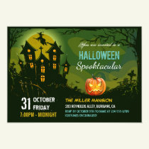 Halloween Spooktacular Party Creepy Haunted House Invitation