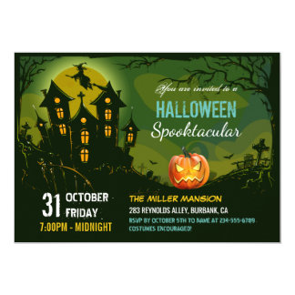 Halloween Spooktacular Party Creepy Haunted House Invitation