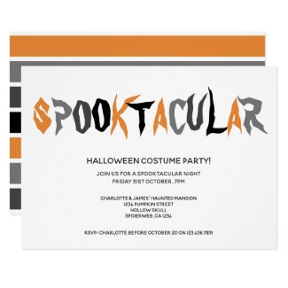 Halloween Spooktacular Party Striped Pattern Invitation