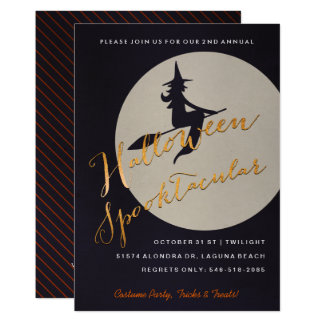Halloween Spooktacular Party | Witch on Broom Card