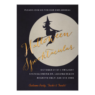 Halloween Spooktacular Party   Witch on Broom Personalized Invite