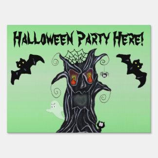 Halloween Spooky black Tree Bats Ghost Cat Yard Sign