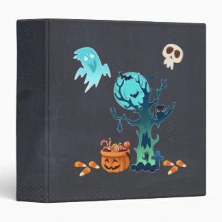 Halloween Spooky Creepy Ghosts Bats Skulls & Candy 3 Ring Binder