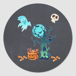 Halloween Spooky Creepy Ghosts Bats Skulls & Candy Classic Round Sticker