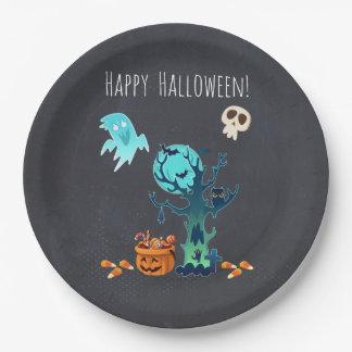 Halloween Spooky Creepy Ghosts Bats Skulls & Candy Paper Plate
