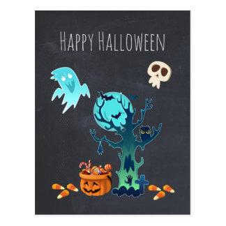 Halloween Spooky Creepy Ghosts Bats Skulls & Candy Postcard
