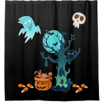 Halloween Spooky Creepy Ghosts Bats Skulls & Candy Shower Curtain