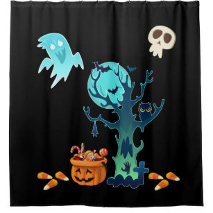 Halloween Spooky Creepy Ghosts Bats Skulls Candy Shower Curtain