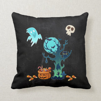Halloween Spooky Creepy Ghosts Bats Skulls & Candy Throw Pillow