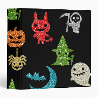 Halloween Spooky Cute Characters Glitter Collage 3 Ring Binder