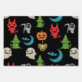 Halloween Spooky Cute Characters Glitter Collage Lawn Sign