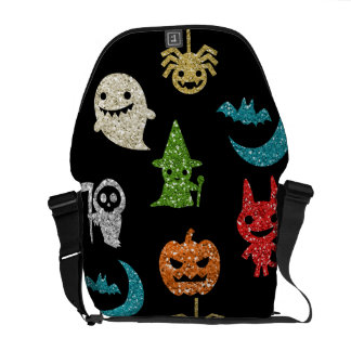 Halloween Spooky Cute Characters Glitter Collage Messenger Bag
