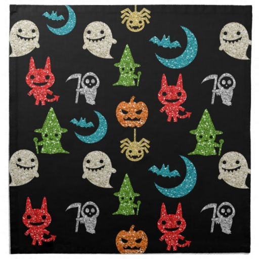 Halloween spooky cute characters glitter collage napkin for Halloween cloth napkins