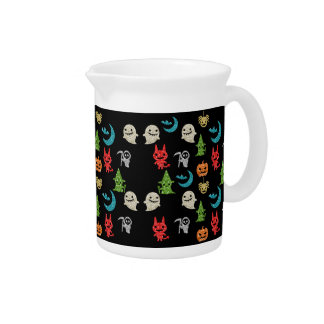 Halloween Spooky Cute Characters Glitter Collage Pitcher