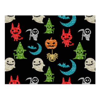 Halloween Spooky Cute Characters Glitter Collage Postcard