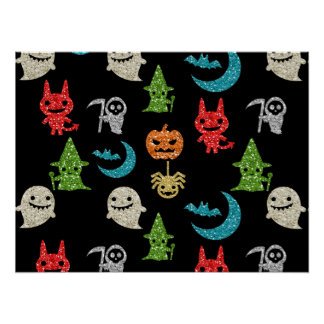 Halloween Spooky Cute Characters Glitter Collage Poster