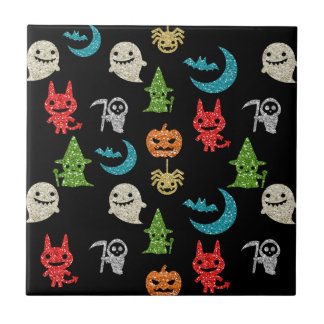 Halloween Spooky Cute Characters Glitter Collage Ceramic Tiles