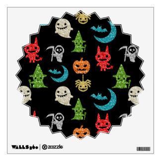 Halloween Spooky Cute Characters Glitter Collage Wall Decal