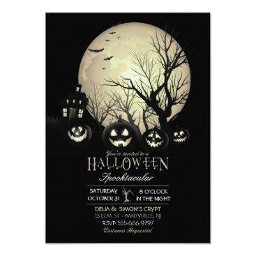 HydrangeaBlue Halloween Spooky Dark Full Moon Jack O Lantern Card