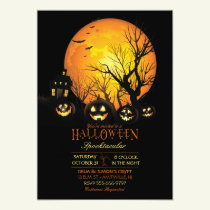 Halloween Spooky Dark Full Moon Jack O Lantern Invitation