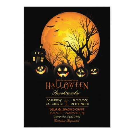 Halloween Spooky Dark Full Moon Jack O Lantern Invitation