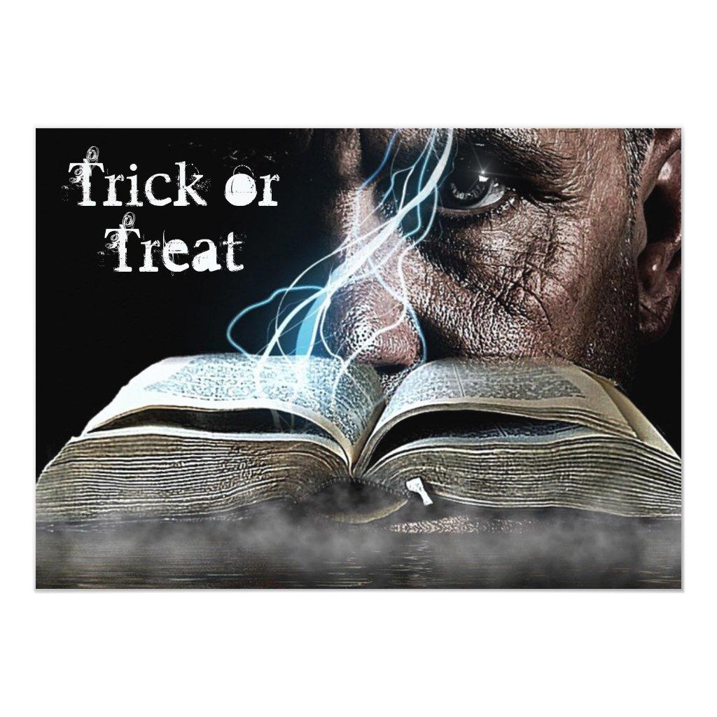 Halloween Spooky Eyes & Spell Book Invitation