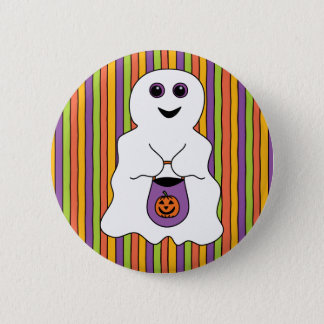 Halloween Spooky Ghost Trick-or-treater Pinback Button