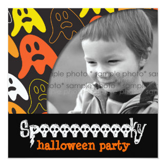 """Halloween Spooky Ghosts Fun Holiday Party Invite 5.25"""" Square Invitation Card"""