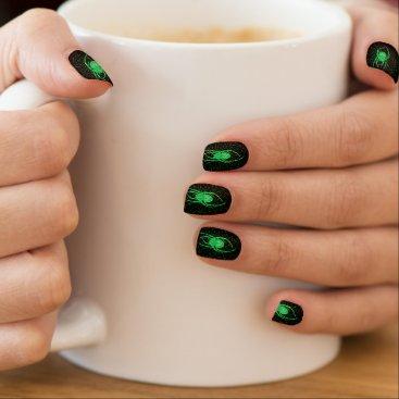 Halloween Themed Halloween Spooky Green Spider Minx Nail Art