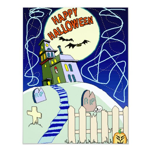 Halloween Spooky Haunted House Party Invitations