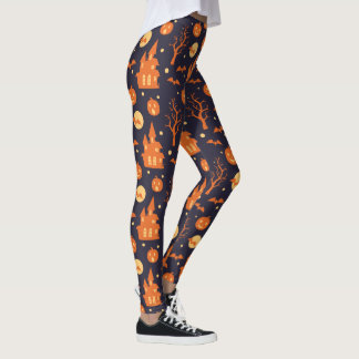 Halloween Spooky House Bats Trees Pumpkin Festive Leggings