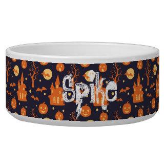 Halloween Spooky House Bats Trees Pumpkin Pattern Bowl