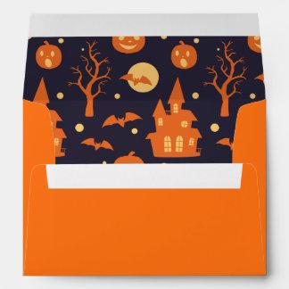 Halloween Spooky House Bats Trees Pumpkin Pattern Envelope
