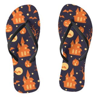 Halloween Spooky House Bats Trees Pumpkin Pattern Flip Flops