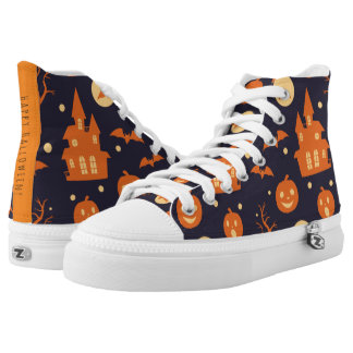 Halloween Spooky House Bats Trees Pumpkin Pattern High-Top Sneakers