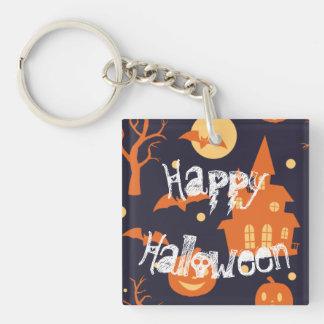Halloween Spooky House Bats Trees Pumpkin Pattern Keychain