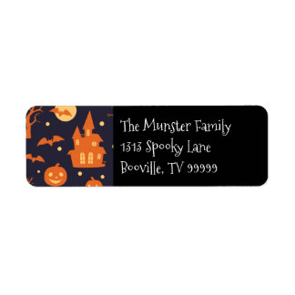 Halloween Spooky House Bats Trees Pumpkin Pattern Label