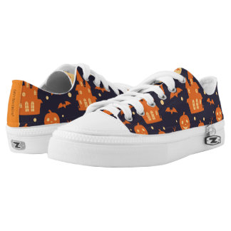 Halloween Spooky House Bats Trees Pumpkin Pattern Low-Top Sneakers